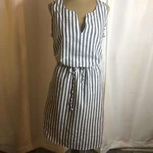 Ashley Stewart Linen and Cotton Striped Dress